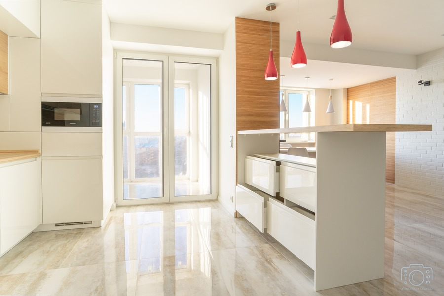 Белый кухонный гарнитур-Кухня МДФ в эмали «Модель 5»-фото3