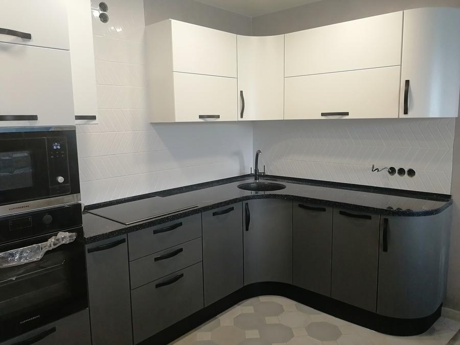 Белый кухонный гарнитур-Кухня МДФ в ПВХ «Модель 29»-фото3
