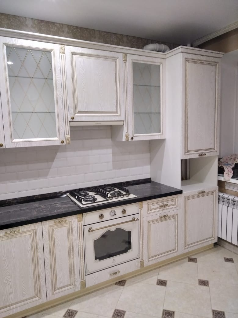 Белый кухонный гарнитур-Кухня из шпона «Модель 581»-фото4